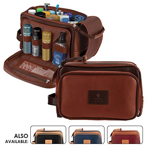Cruelty-Free Leather Travel Toiletry Bag/Dopp Kit by Pierre LaCroix | Hand-Stitched Using Premium PU Leather and YKK Zippers | Leak Proof | (11