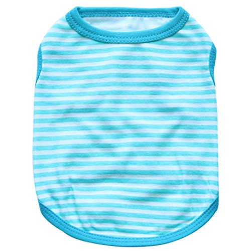 Dog Vest,Laimeng,2016 New Pet Dog Elasti Clothes Apparel Stripe Vest T-shirt (L, Blue) (Dog Clothing Stores)
