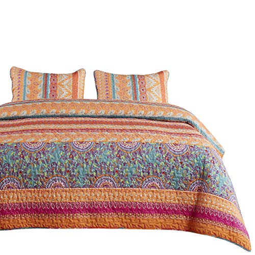 Wake In Cloud - Bohemian Quilt Set, Orange Coral and Green Boho Chic Mandala Pattern Printed, Soft Microfiber Bedspread Coverlet Bedding (3pcs, King Size) ()