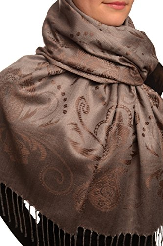 Pearls & Paisleys On Dark Brown & Grey Pashmina Feel With Tassels - Marron ?charpe Taille Unique - 70cm x 180cm