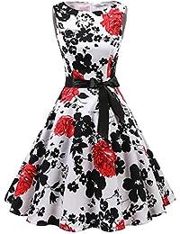 Women's Vintage 1950s Spring Garden Party Picnic Dress Sleeveless Retro Cocktail Dress