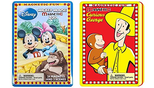 Lee Publications Magnetic Fun Mickey Mouse Zoo Bundled with Magnetic Fun Curious George Playset ()