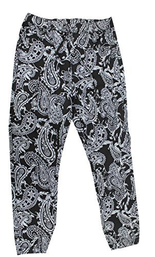 Victorious Twill Cotton Black Paisley Jogger Pants