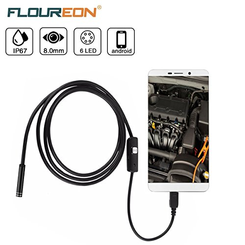 FLOUREON USB Endoscope Inspection Camera Android Camera Borescope Inspection Camera 2.0MP CMOS HD with 6 Adjustable Led Light Waterproof for Android, Windows & Macbook Computer- 16.4 ft(5M)