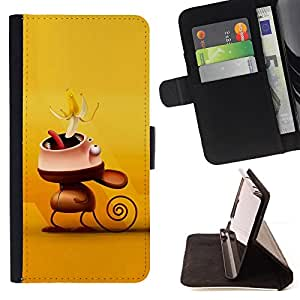 DEVIL CASE - FOR Apple Iphone 6 PLUS 5.5 - Cute Funny Monkey Banana - Style PU Leather Case Wallet Flip Stand Flap Closure Cover