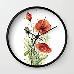 Society6 Red Poppies Watercolor Flower Floral Art Wall Clock Black Frame, Black Hands