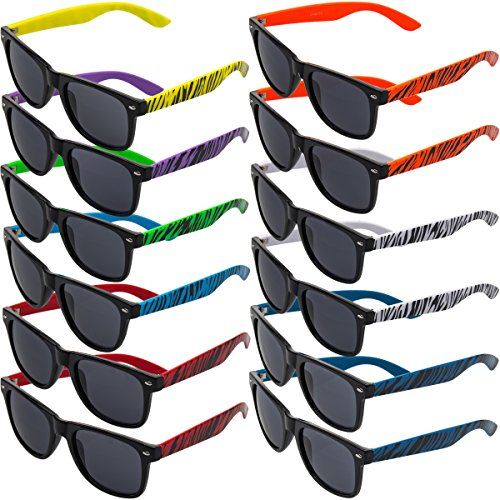 - Fashion Shades 12 Pairs Zebra Sunglasses Assorted Color 100% UV Protection for Mens Womens