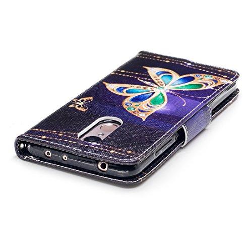 Xiaomi magnétique avec d'impression 5 portefeuille fermeture cas avec cuir fente aérosol Flip de en carte étui Redmi protection PU conception support en Butterfly Hozor pour peint Gold pq6aAdwp