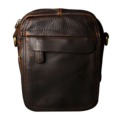 Small Satchel Bag Waist Pack Leaher Belt Pouch(Coffee) (Leaher Bag)
