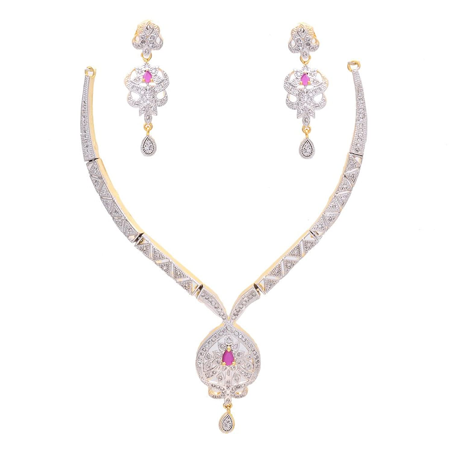 Geode Delight American Diamond CZ Vintage Style Necklace Earrings Set for Women