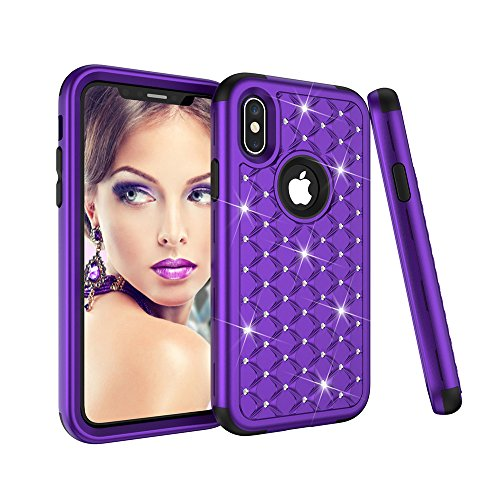 AICOO iPhone X/iPhone 10 Case, Girls Bling Crystal Studded Rhinestone Diamond Case Hybrid Shockproof Dual Layer Defender Protective for iPhone X/iPhone 10 Cover,Purple Black