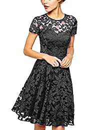 YACUN Women's Fit and Flare Lace Evening Gown Dress