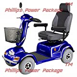 CTM - HS-890 - Full Size Bariatric Heavy Duty Road Class Scooter - 4-Wheel - Blue - PHILLIPS POWER PACKAGE TM - TO $500 VALUE
