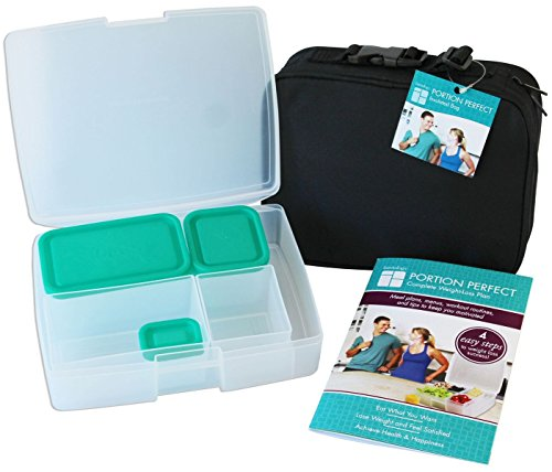 Portion Control Lunch Box By Bentology - Bento Box, Portion Guide + Insulated Sleeve - Clear and Turquoise
