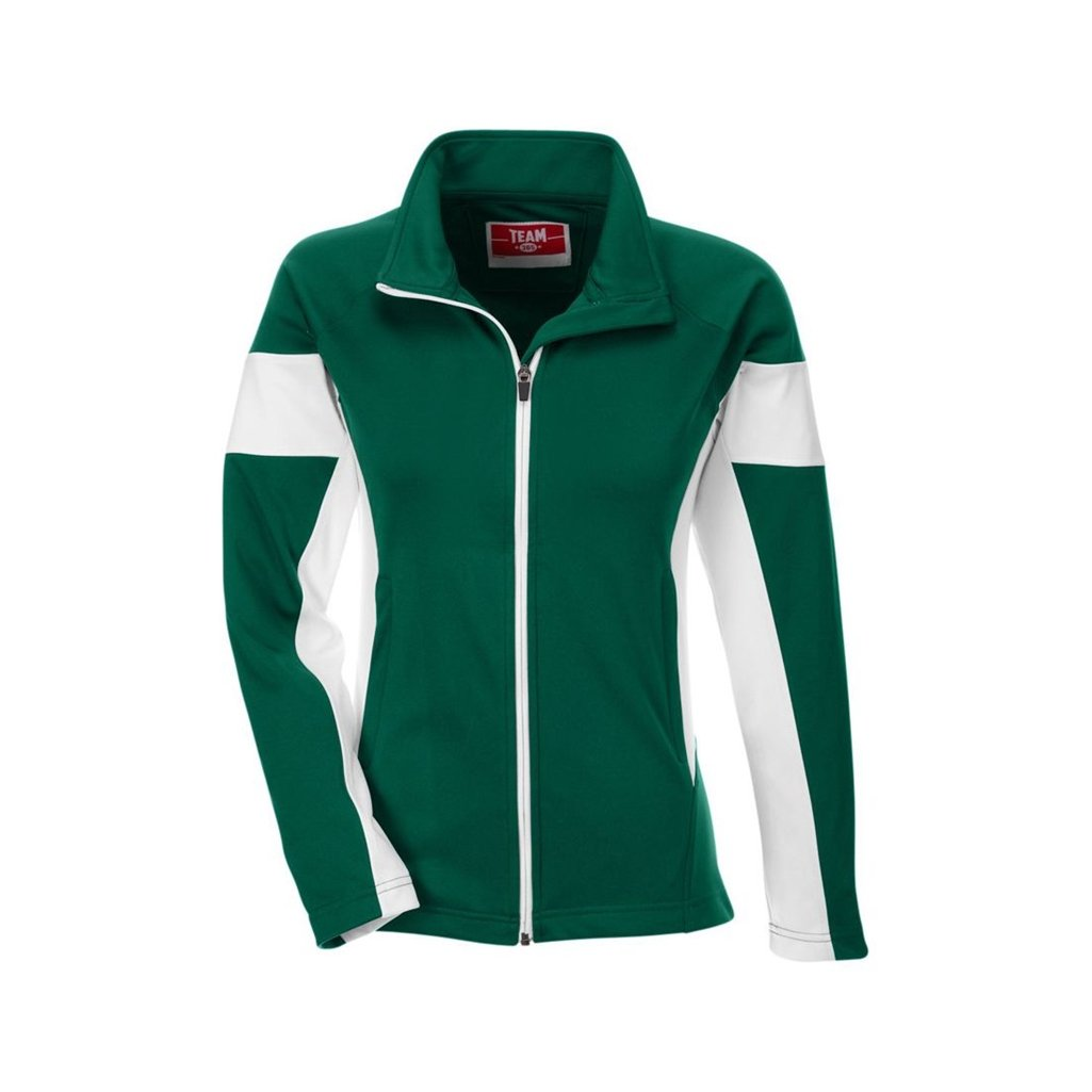 Team 365 Ladies Elite Performance Full-Zip (X-Large, Sport Forest/White) by Ash City Apparel