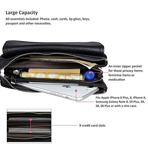 Shoulder Wristlet with Clutch Black Crossbody Wallet Leather Card Strap Wrist Smartphone Small Strap Slots Befen YAzqaxq