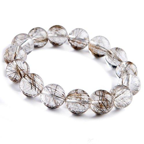 (14mm Natural Silver Hair Rutilated Quartz Gemstone Crystal Round Bead)