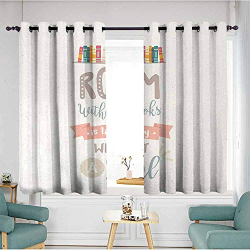 Book Bedroom windproofcurtain Book Shelf Illustration with A Room Without Books is Body Without Soul Quote Print Noise Reducing 63