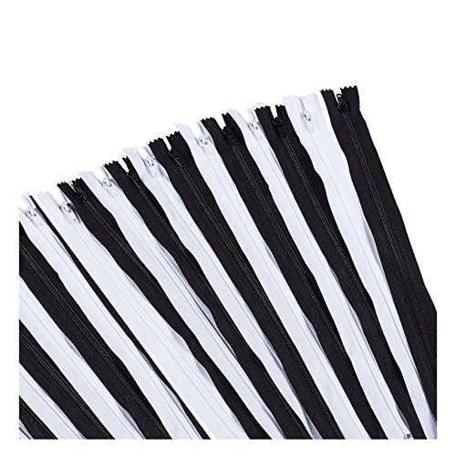Nylon Coil Zipper - 70-Pack 18-Inch Zippers, Non-Separating All-Purpose Zippers for Tailor Sewing Crafts, Replacement, 35 Black and 35 White