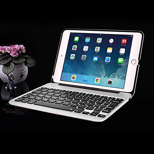 MOSTOP iPad Mini 4 Keyboard Bluetooth Slim Aluminum Wireless Keypad With 7-Color LED Backlit & Built-in 2800mAh Power Bank for iPad Mini 4 (Silver) by MOSTOP (Image #6)