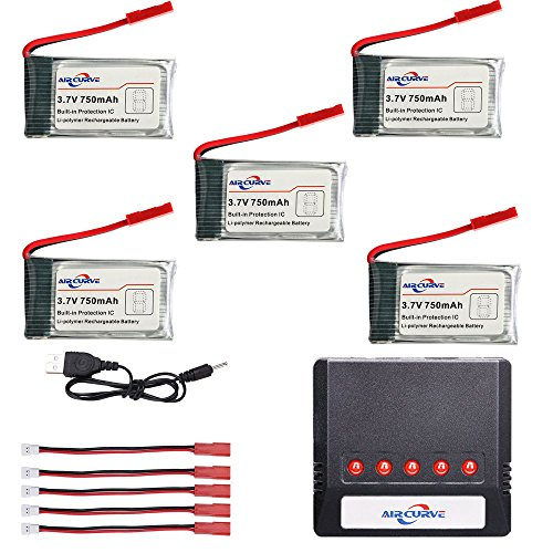 Air Curve 3.7v 750mah Lipo Rechargeable Battery (5pcs) with 5 Port Charger for Syma X56W MJX X400 X 400W Holy Stone X300C X400C X800 HS110 HS200 Sky Viper V950 HS200W Akaso K88 RC Quadcopter Drone by Air Curve