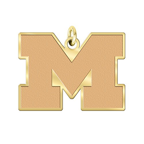 University of Michigan Wolverines Solid 14K Yellow Gold Natural Finish Cut Out Logo Charm (3/4