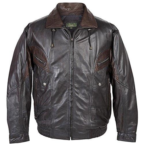 352: Men's Black Leather Blouson Jacket Black