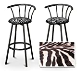 2 Zebra Animal Print Specialty / Custom Black Barstools with Backres...