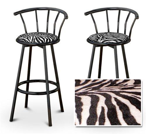 2 Zebra Animal Print Specialty / Custom Black Barstools with Backres...