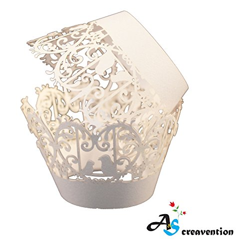A&S Creavention Vine Cupcake Holders Filigree Vine Designed Decor Dressing-gown Wraps Cupcake Muffin Paper Holders - 50pcs (100, Bird)