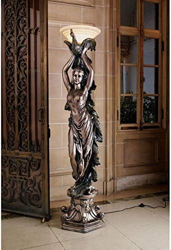 Design Toscano The The Peacock Goddess Sculptural Floor Torchi re Lamp, 74 Inch, Bronze Verdigris Finish