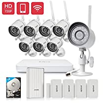 Funlux HD 720p WiFi Weatherproof Video Surveillance Security Camera 8 Channel NVR System with Night Vision 1TB Hard Drive with Beam Wifi Extender Hub and 4 Pack Door/Window Sensors