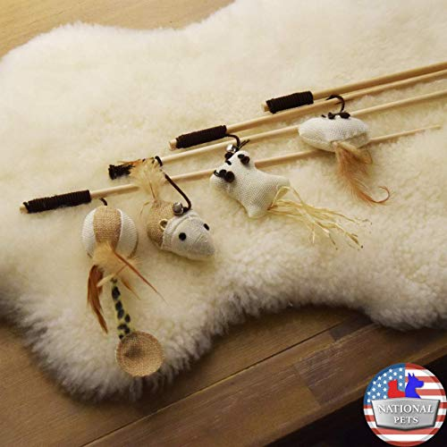 National Pets USA Set of 4-Pack Natural Interactive Cat Teaser Mouse Catcher Wand Stick Feather Bell String Play Toy ()