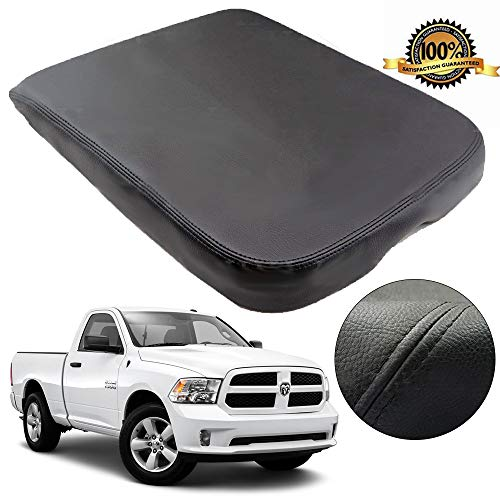 Hoypeyfiy Armrest Center Console Leather Synthetic Cover for Dodge Ram 02-08 Black ()