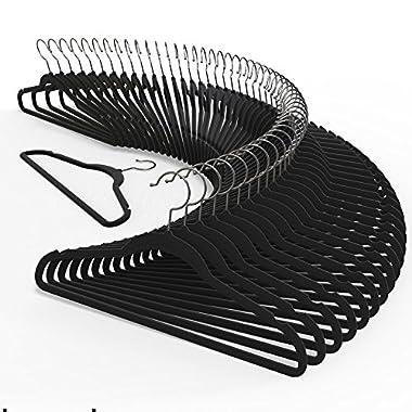 Premium Quality Velvet Hanger (Set of 50) - Ultra -Thin No Slip Velvet Suit Hangers - Swivel Hooks, STRONGER Than Standard Velvet Hangers - Space Saving Clothes Hangers - Black