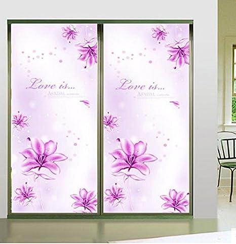 Trabajar creativo diseño flores de pasta de vidrio opaco armario de puertas correderas fondo pintura a puerta espejo de cristal para unir las pegatinas autoadhesivas película * 40 60 cm: Amazon.es: Hogar
