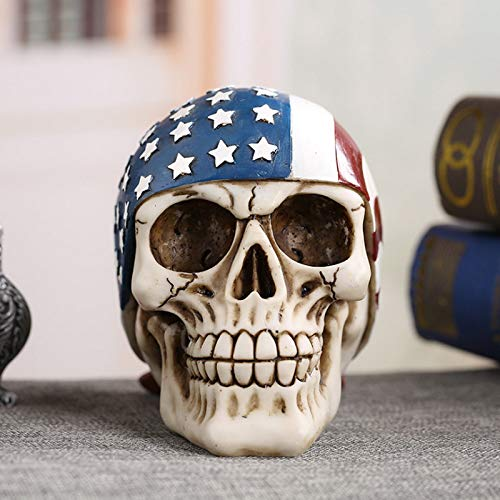 Sykdybz Halloween Decoration Props Horror Simulation Adult Skull Decoration Haunted House Secret Room Skull Skull Decoration Props, 16X12X19Cm, Dried Corpse Head -