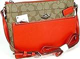 New Coach C Signature Purse Cross Body Bag & Pouch Matching Set Khaki Orange