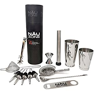 14 Piece Professional Bar Set | 28 oz Weighted Bottom Boston Shaker: Restaurant Quality Bartender Kit Includes Barware Supplies and Bartending Tools for Drink Mixing like a Pro | Deluxe Gift Packaging