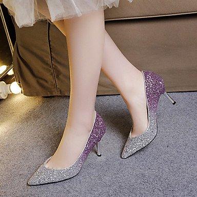 Talones de las mujeres Primavera Verano Otoño Otros Glitter Fiesta y Noche Casual tacón de aguja con lentejuelas Negro púrpura almendra Purple