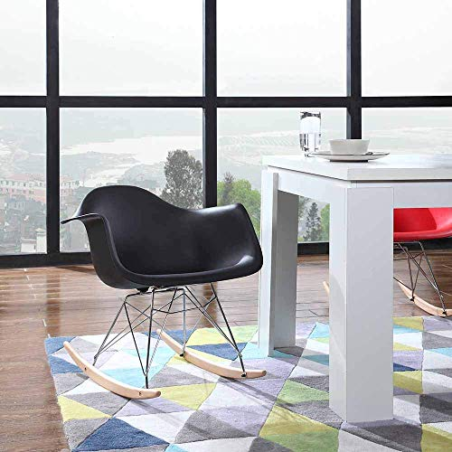 - Mid Century Modern Rocking Chair, Kitchen Table Dining Chairs - Set of 2 Eames Style Armchair, Shell Plastic Rocker Lounge Desk/Dining Chair with Arms & Wood Legs, Side Chair for Living Room (Black)