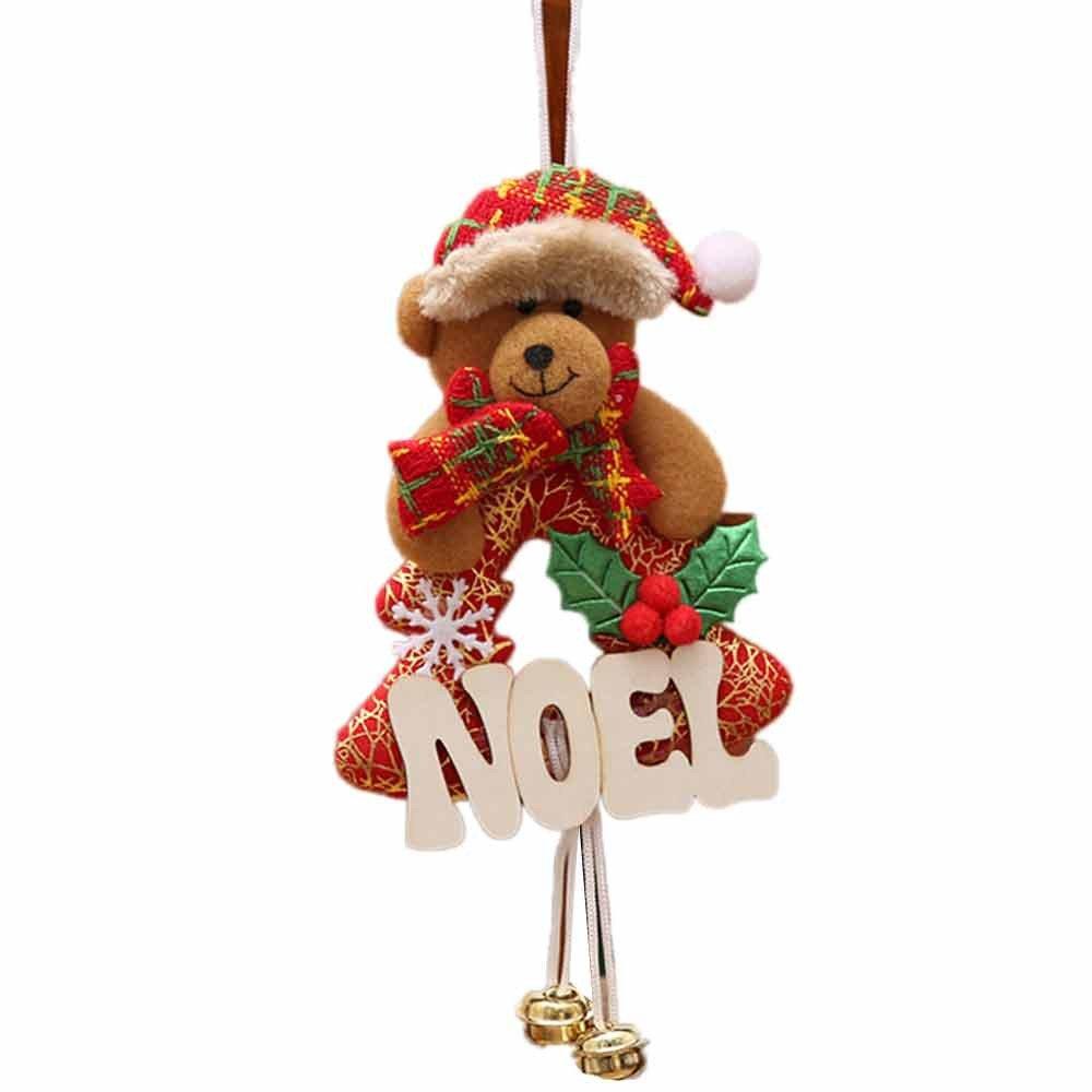 Barlingrock Christmas Ornaments, Xmas Hanging Tree Ornaments, Elk/Snowman/ Bear/San Claus Home Furnishing Garden Hotel Restaurant Coffee Shop Decoration (C)