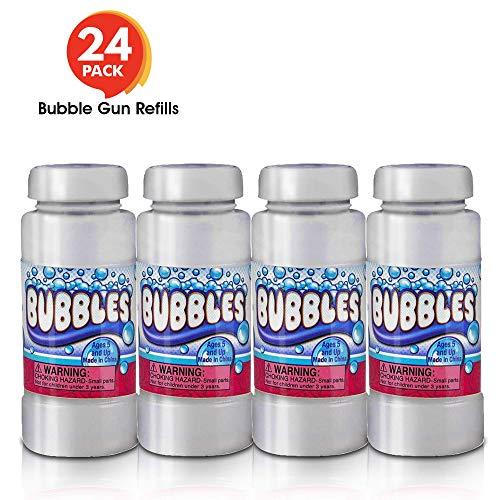 ArtCreativity 4 oz Bubble Solution Refill for Bubble Guns - 24 Pack 4oz Each - 24 Bottles Non-Toxic Bubble Fluid for Kids - Liquid for Bubble Machine, Bubble Blowing Gun, and Toy Wands (Best Bubble Blowing Gun)
