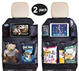 Car Seat Protector Auto Back Seat Kick Mats Organizer with Waterproof Clear Tablet Holder and Mesh Pockets for Children Kids Baby Journey (2 Pack)