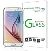 amFilm Galaxy S6 Screen Protector Tempered Glass (Front) and PET (Back) Screen Protector for Samsung Galaxy S6 (NOT S6 Edge) (1-Pack) [in Retail Packaging]