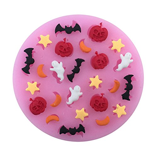 Drawihi Silicone Mold Halloween Pumpkin Ghost Bats DIY Fondant Chocolate Mold Cupcake Biscuit Embossing Mold Baking Tool -