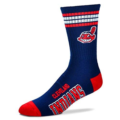 MLB 4 Stripe Deuce Socks - Men's Large (fits 10-13) (Cleveland Indians)