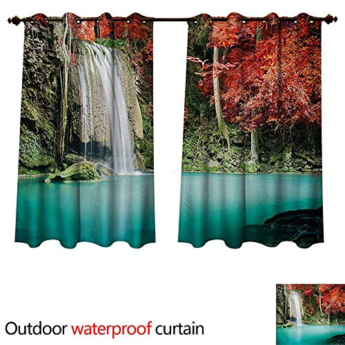 (WilliamsDecor Waterfall Outdoor Curtain for Patio Nature Single Waterfall in Corner of The Deep Forest with Fair Fall Oak Trees W55 x L45(140cm x)