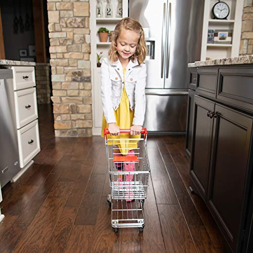 Fat Brain Toys Let's Shop! Stainless Steel Grocery Cart Imaginative Play for Ages 3 to 7