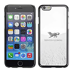 A-type Arte & diseño plástico duro Fundas Cover Cubre Hard Case Cover para Apple Iphone 6 Plus 5.5 (Winter Is Coming Stark)